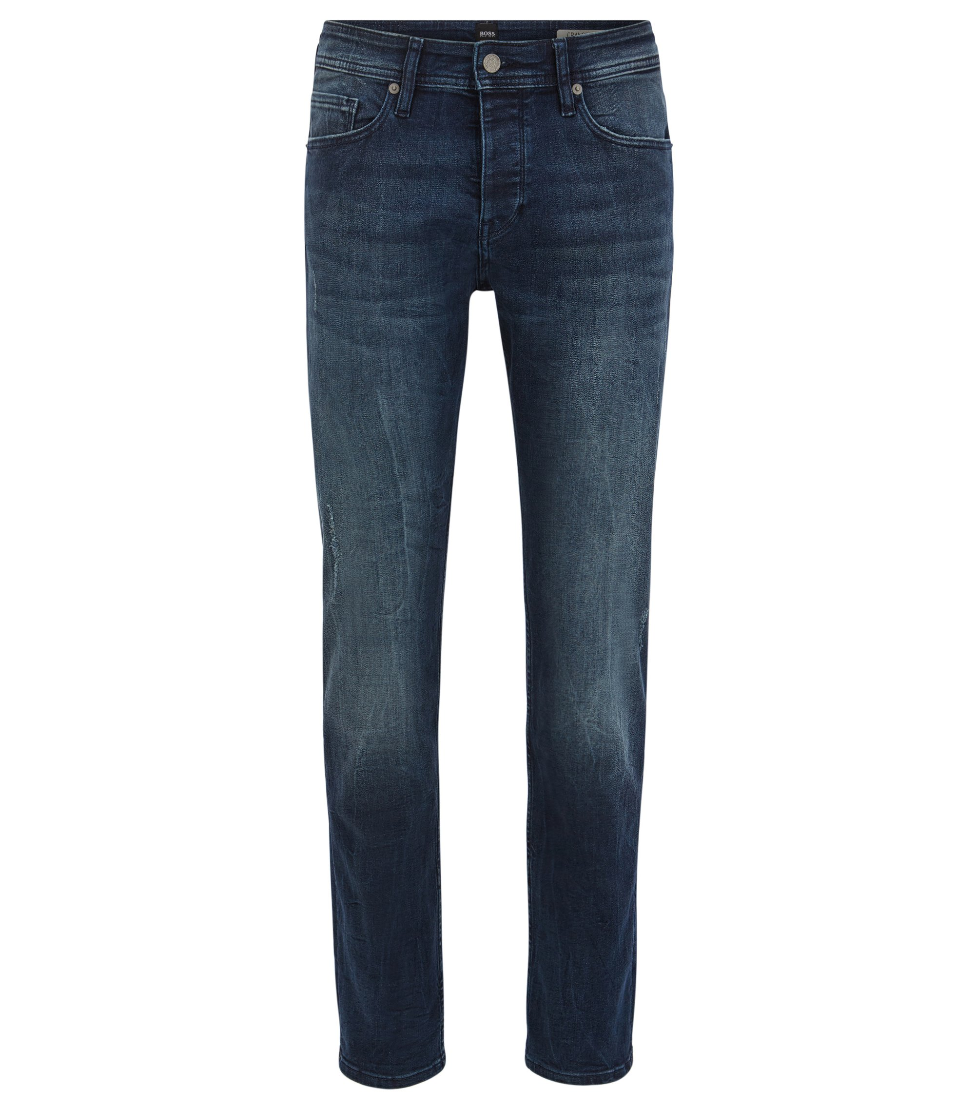 Jean fuselé Tapered Fit en denim super stretch indigo profond, à la finition usée, Bleu foncé