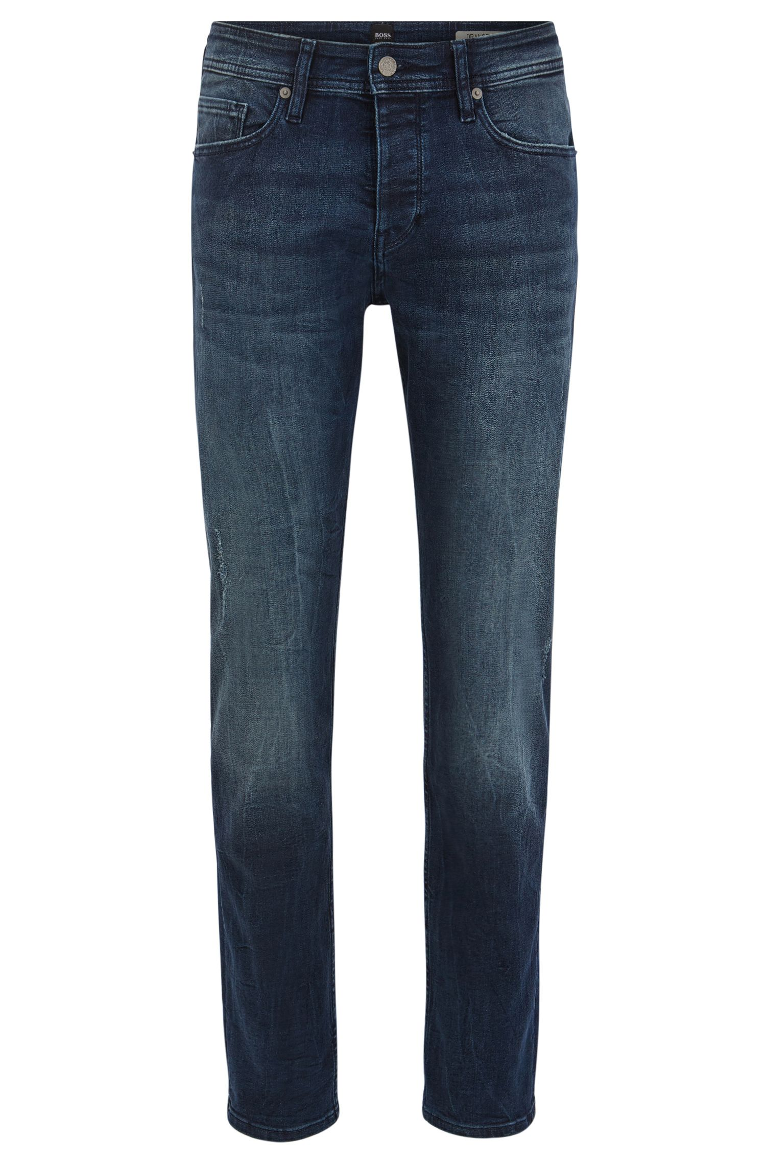 Tapered-fit jeans van diep indigo super-stretchdenim met used-afwerking