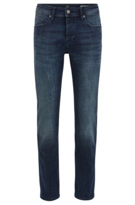 Tapered-fit deep-indigo jeans in super-stretch denim with distressed finish, Donkerblauw
