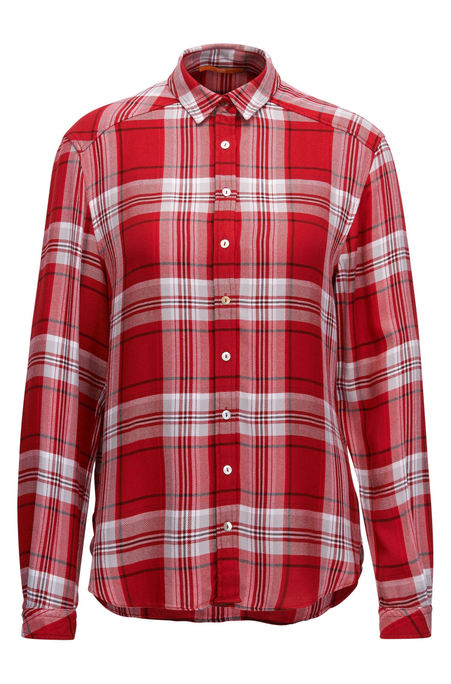 Relaxed-fit Glen plaid blouse