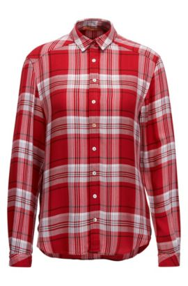 Relaxed-fit Glen plaid blouse, Red