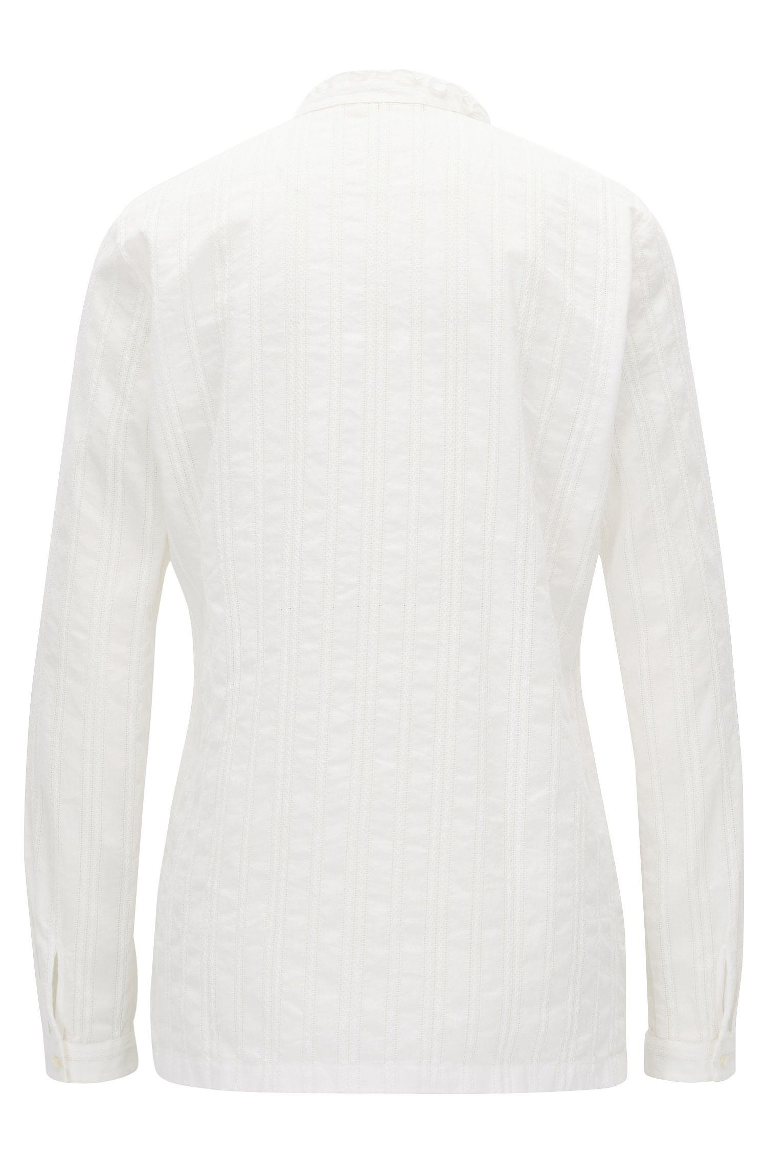 Regular-fit blouse van katoen met strepen en ruches