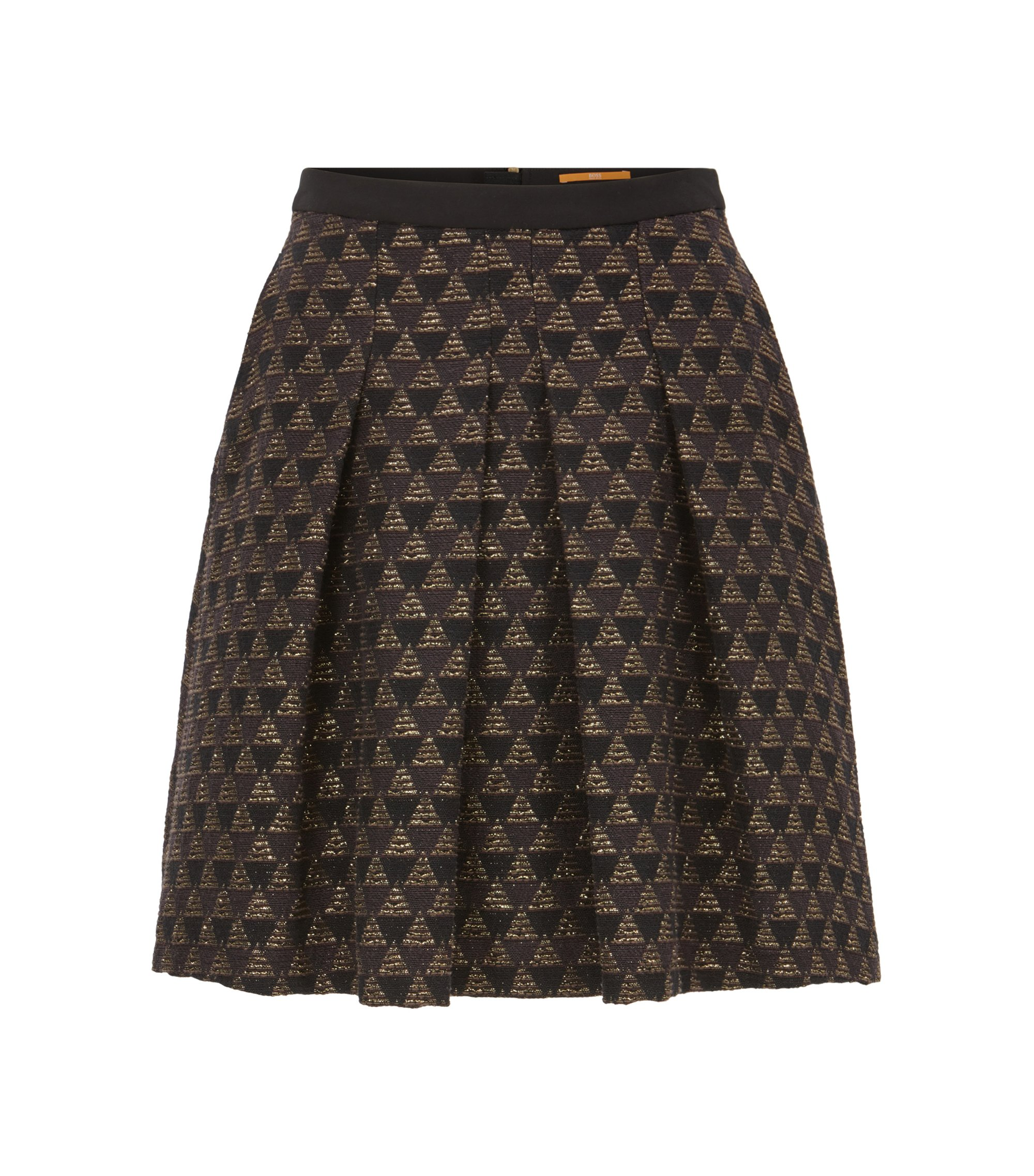 A-line skater skirt in a cotton-blend jacquard, Patterned