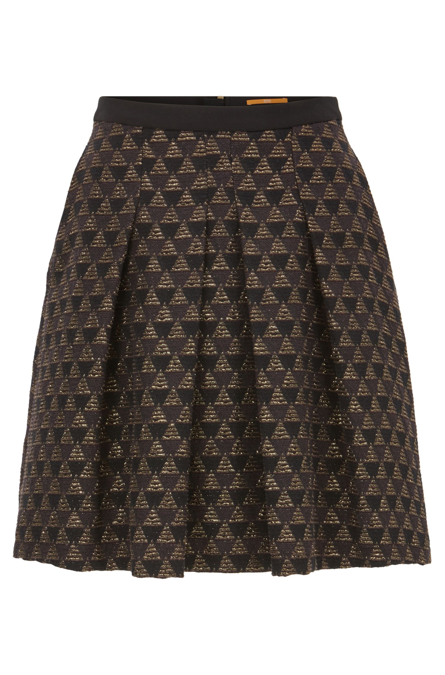 A-line skater skirt in a cotton-blend jacquard