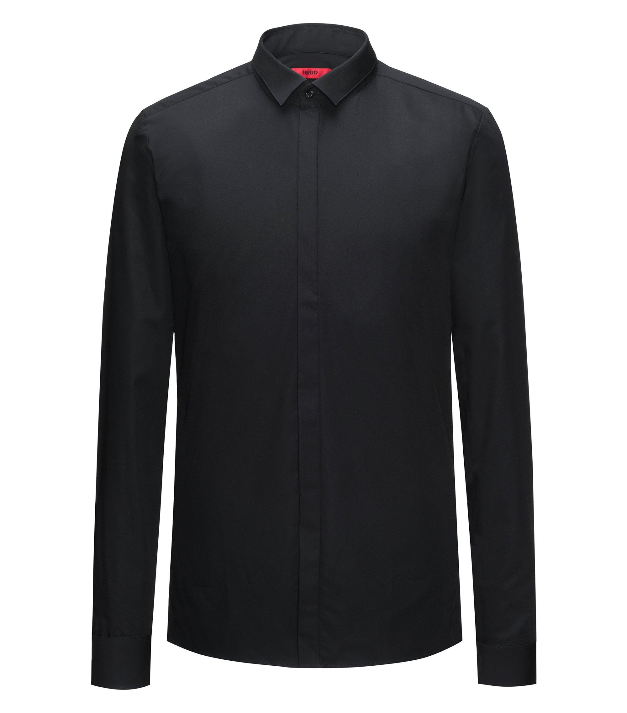 Extra Slim-Fit Hemd aus Baumwolle mit verdeckter Knopfleiste, Schwarz