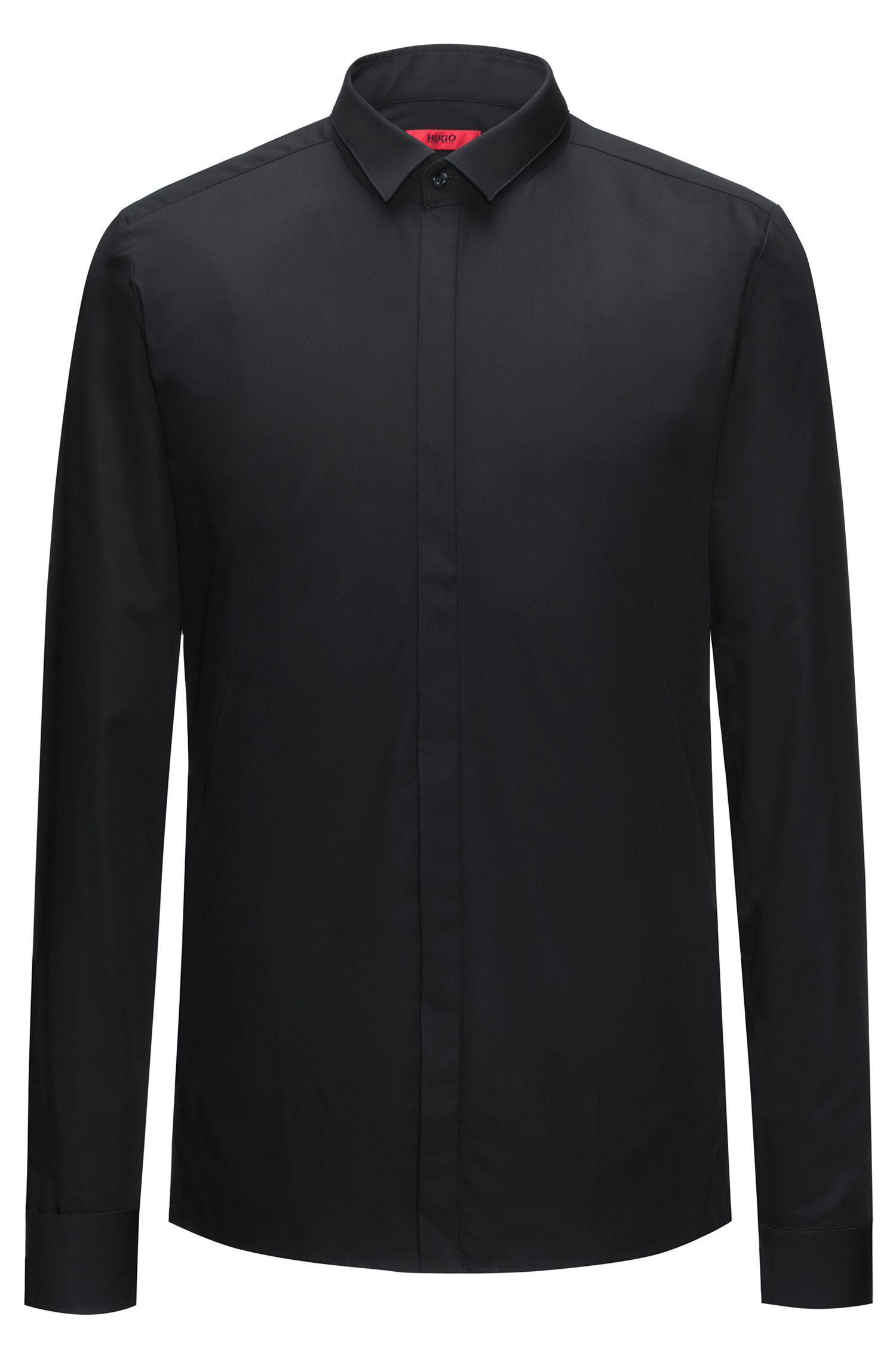 Camicia extra slim fit in cotone con allacciatura nascosta