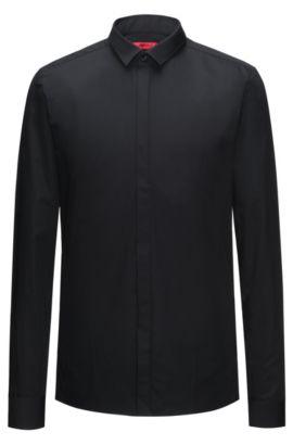 Camicia extra slim fit in cotone con allacciatura nascosta, Nero