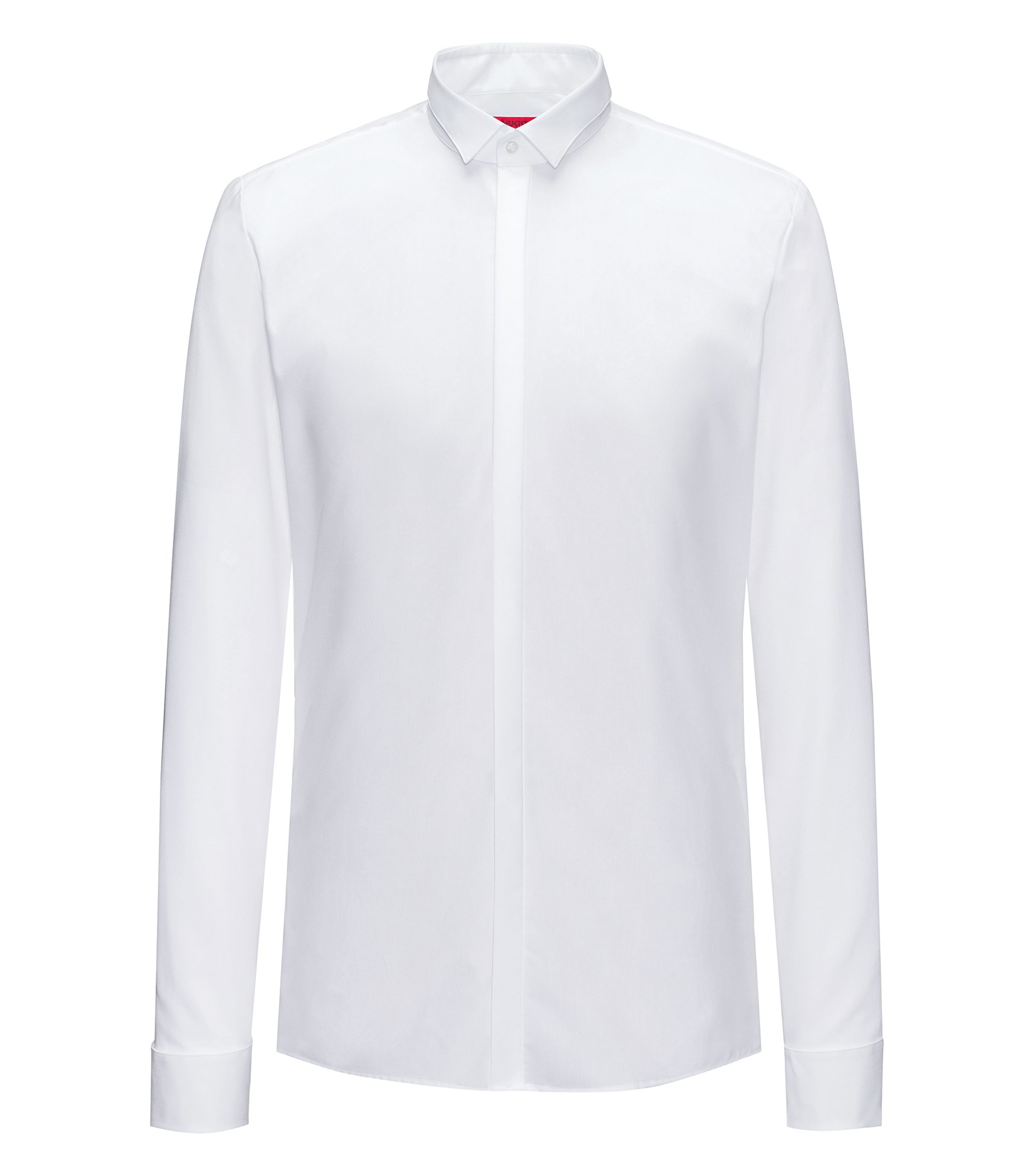Extra-slim-fit cotton shirt with concealed placket, White