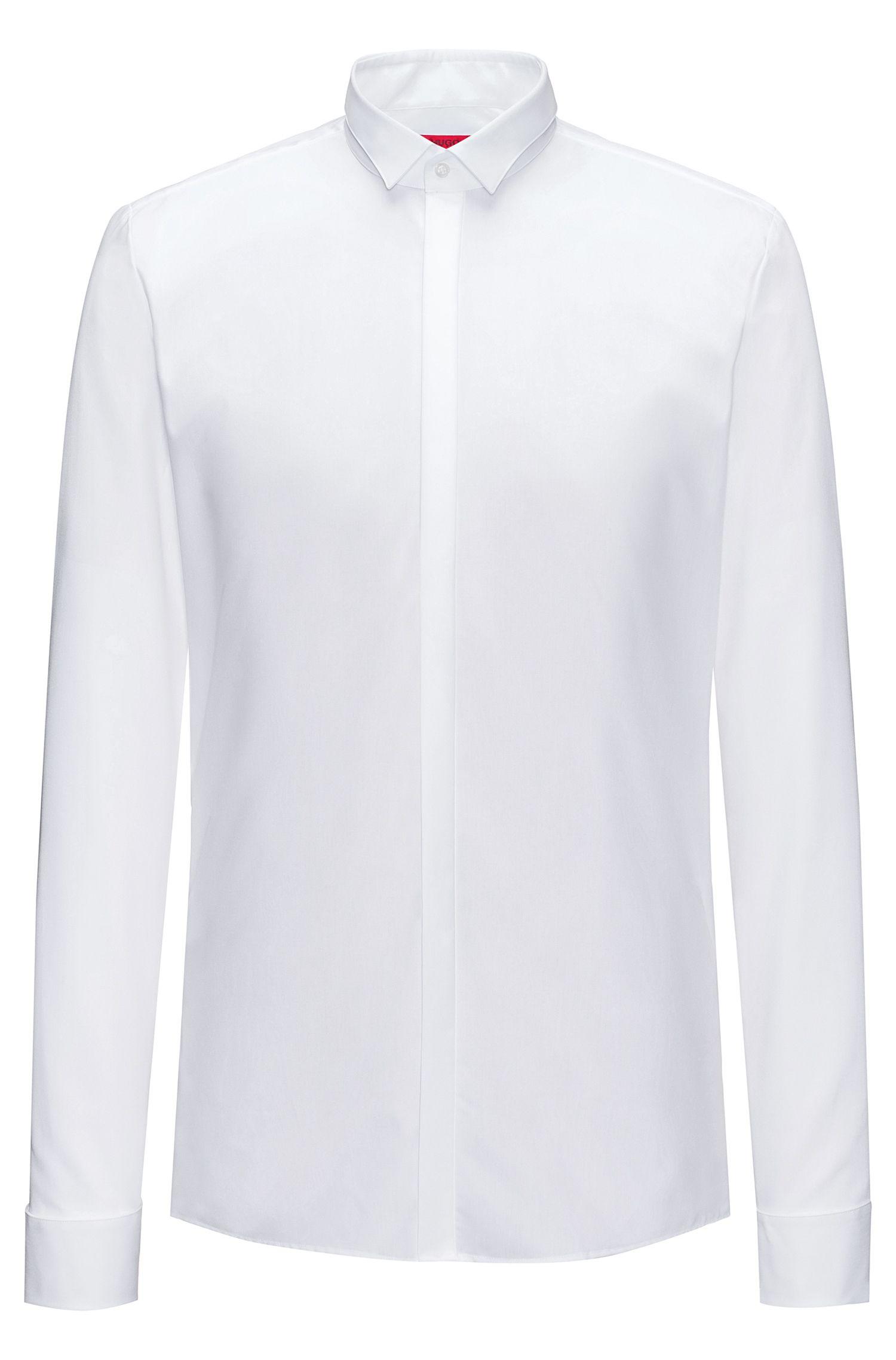 Camisa extra slim fit de algodón con tapeta oculta