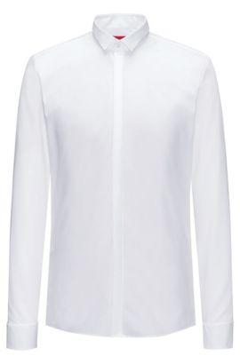 Camisa extra slim fit de algodón con tapeta oculta, Blanco