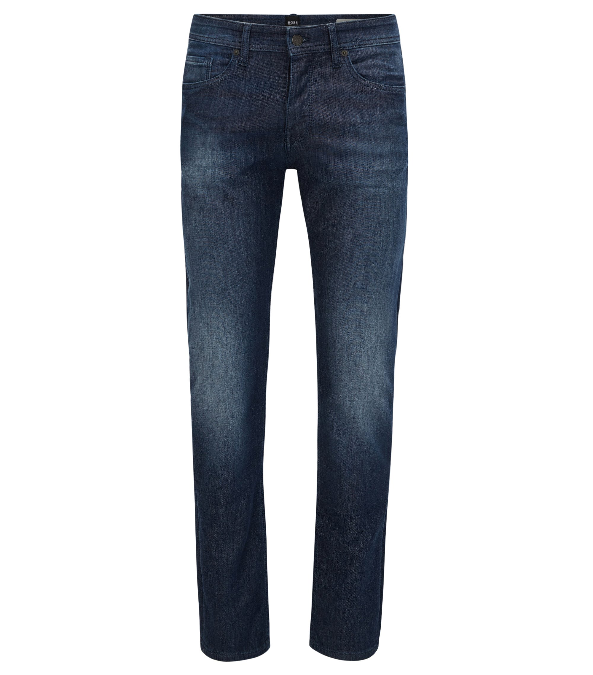 Jean Tapered Fit en maille denim stretch, Bleu