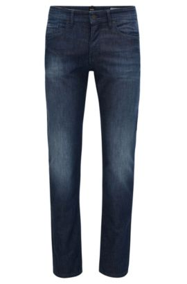 Tapered-fit jeans in knitted stretch denim, Bleu