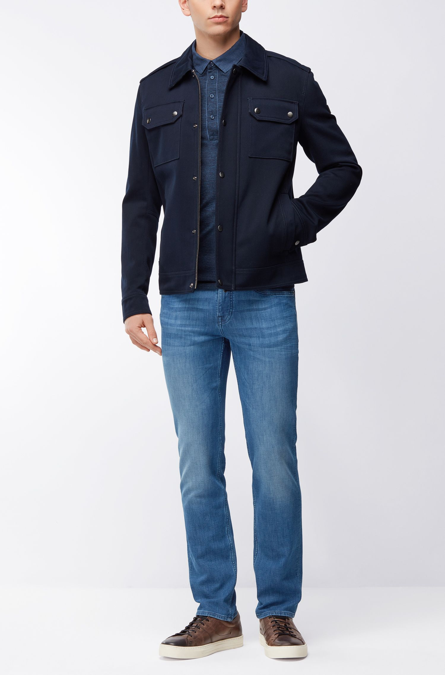 Jeans Slim Fit en maille espagnole effet denim stretch