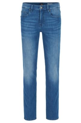 Jeans Slim Fit en maille espagnole effet denim stretch, Bleu