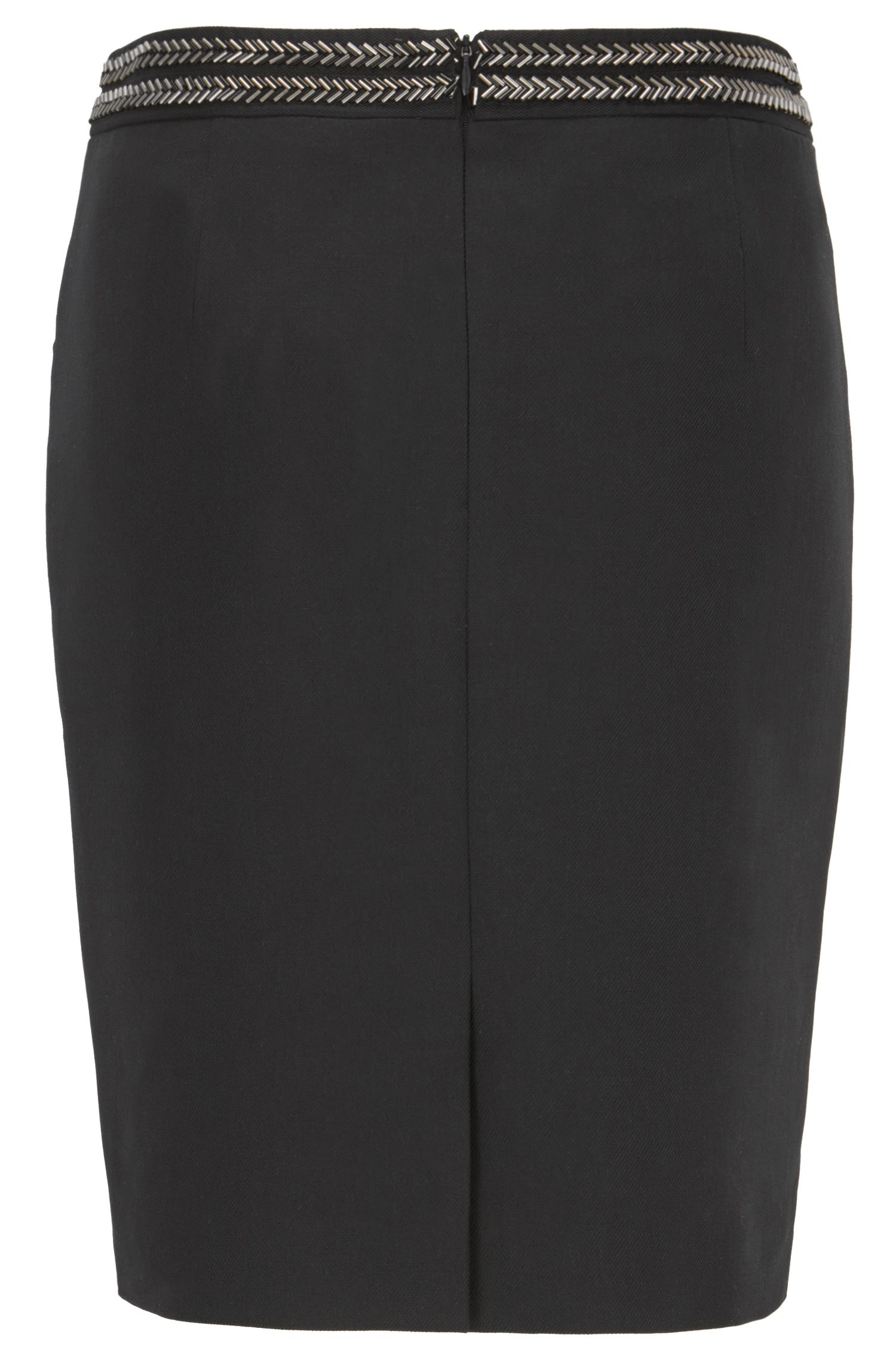 Embellished pencil skirt in a cotton blend