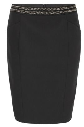 Embellished pencil skirt in a cotton blend, Black