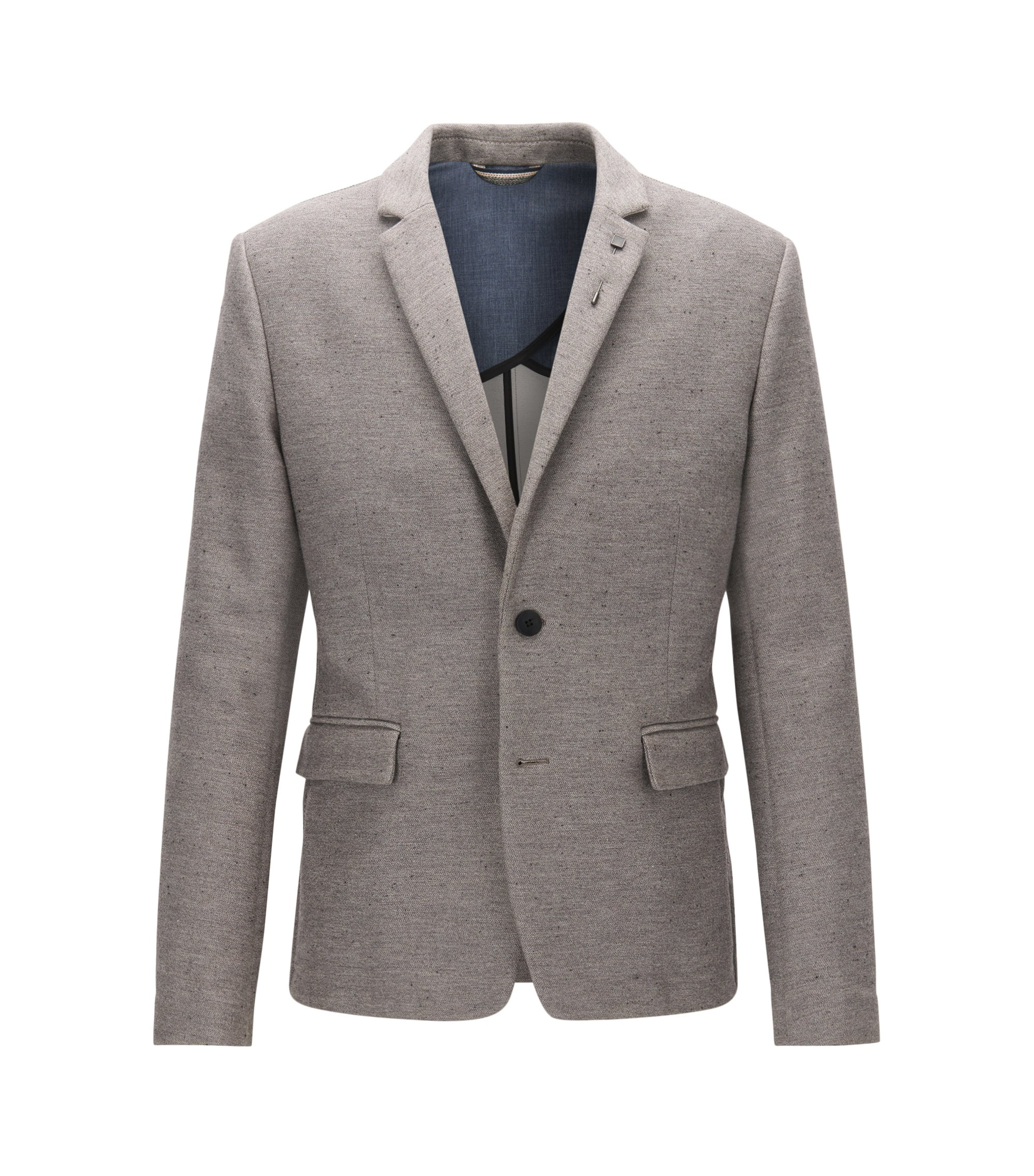 Slim-fit jacket in a cotton blend, Light Grey