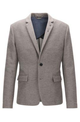 Slim-fit jacket in a cotton blend, Light Grey