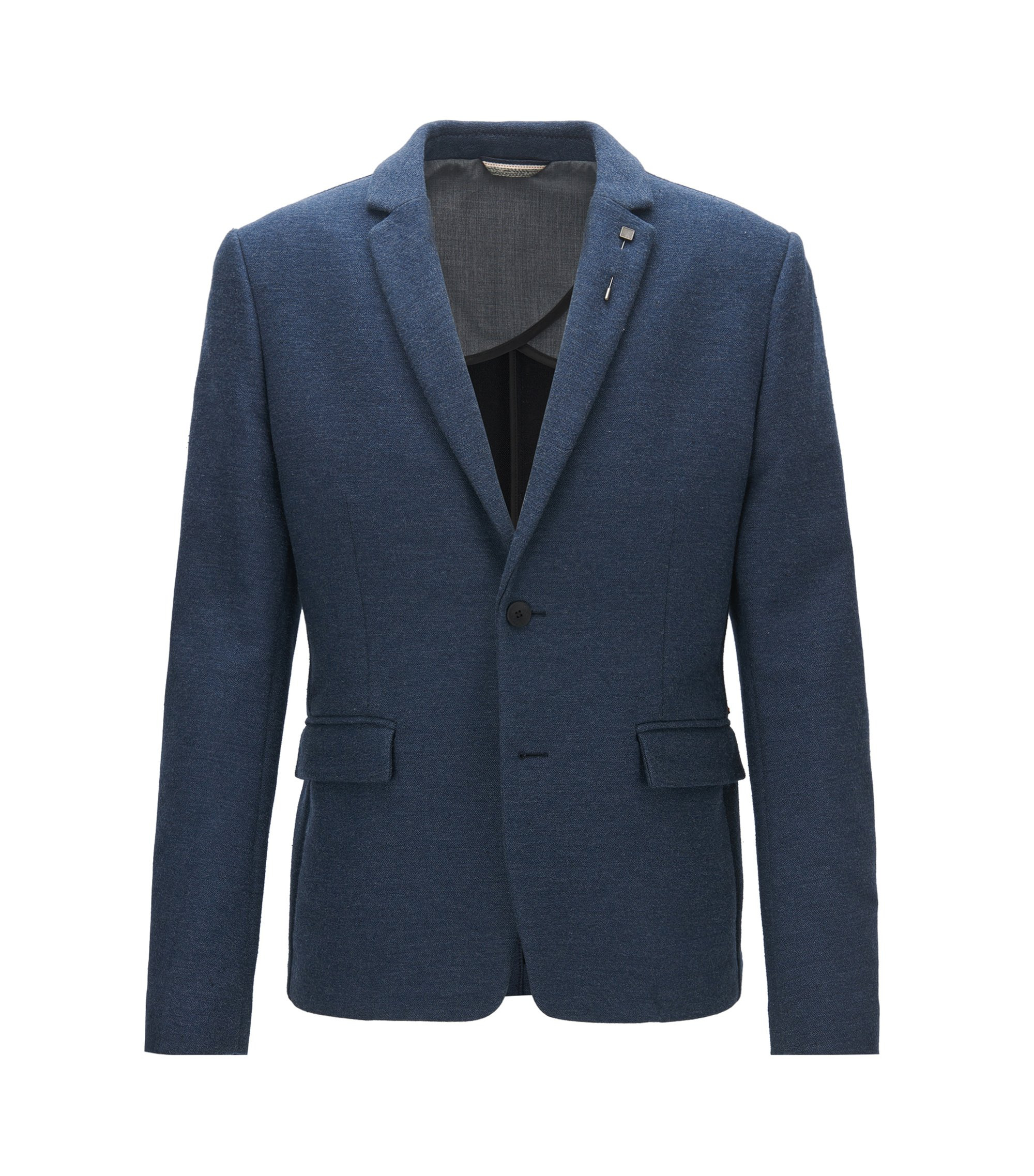 Giacca slim fit in misto cotone, Blu scuro