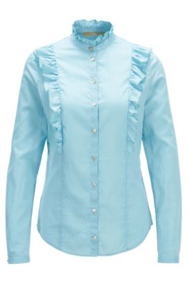 Regular-fit ruffle blouse in a cotton blend, Turquoise