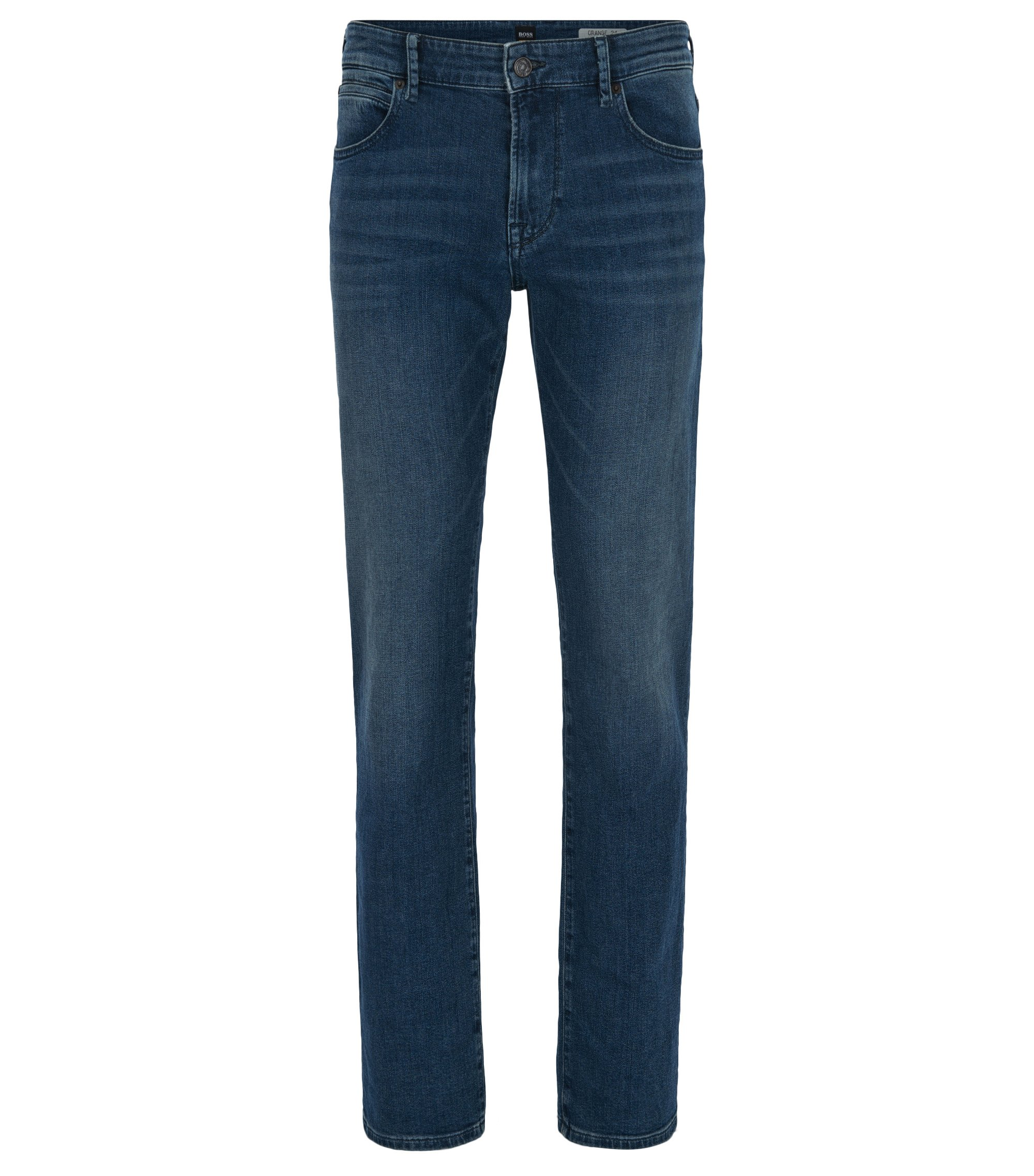 Jeans regular fit in denim elasticizzato indaco scuro, Blu
