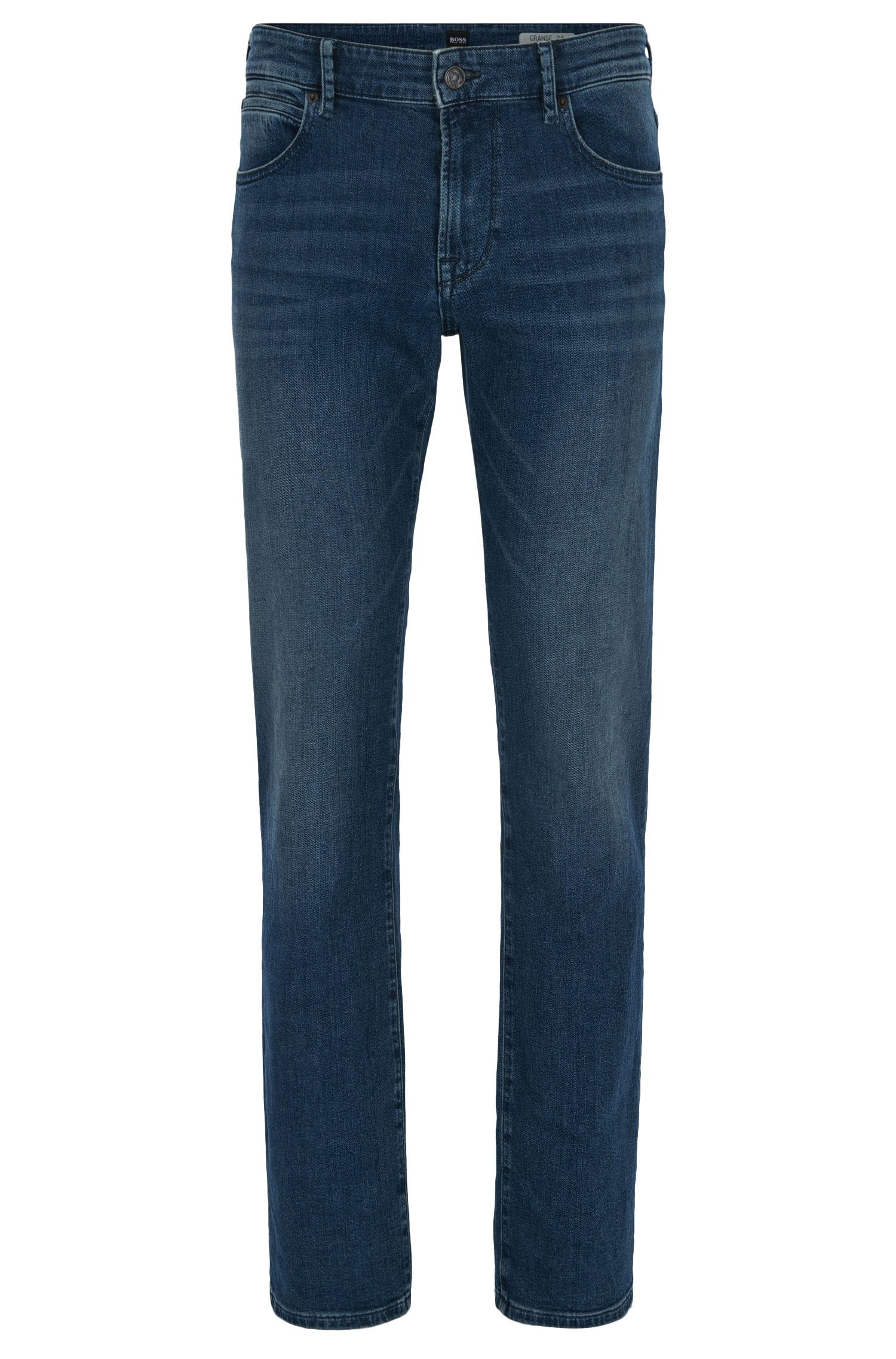 Jeans regular fit in denim elasticizzato indaco scuro