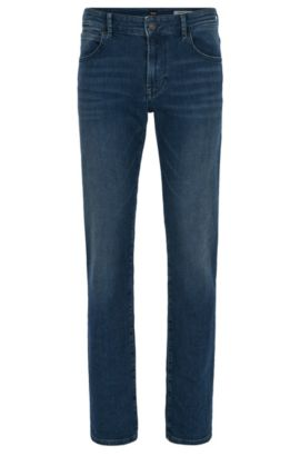 Regular-fit jeans van diepindigo stretchdenim, Blauw