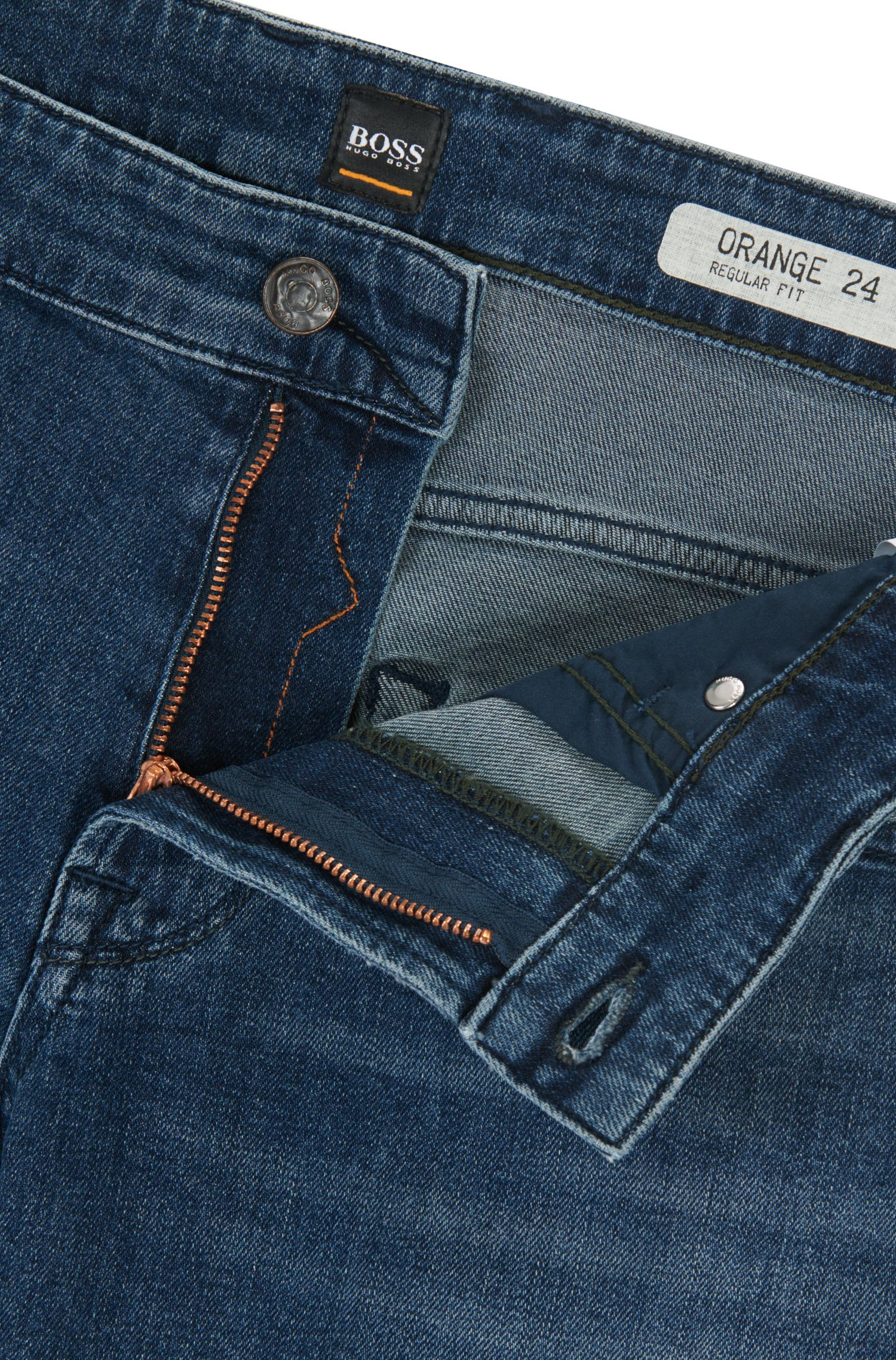 Regular-Fit Jeans aus elastischem Denim