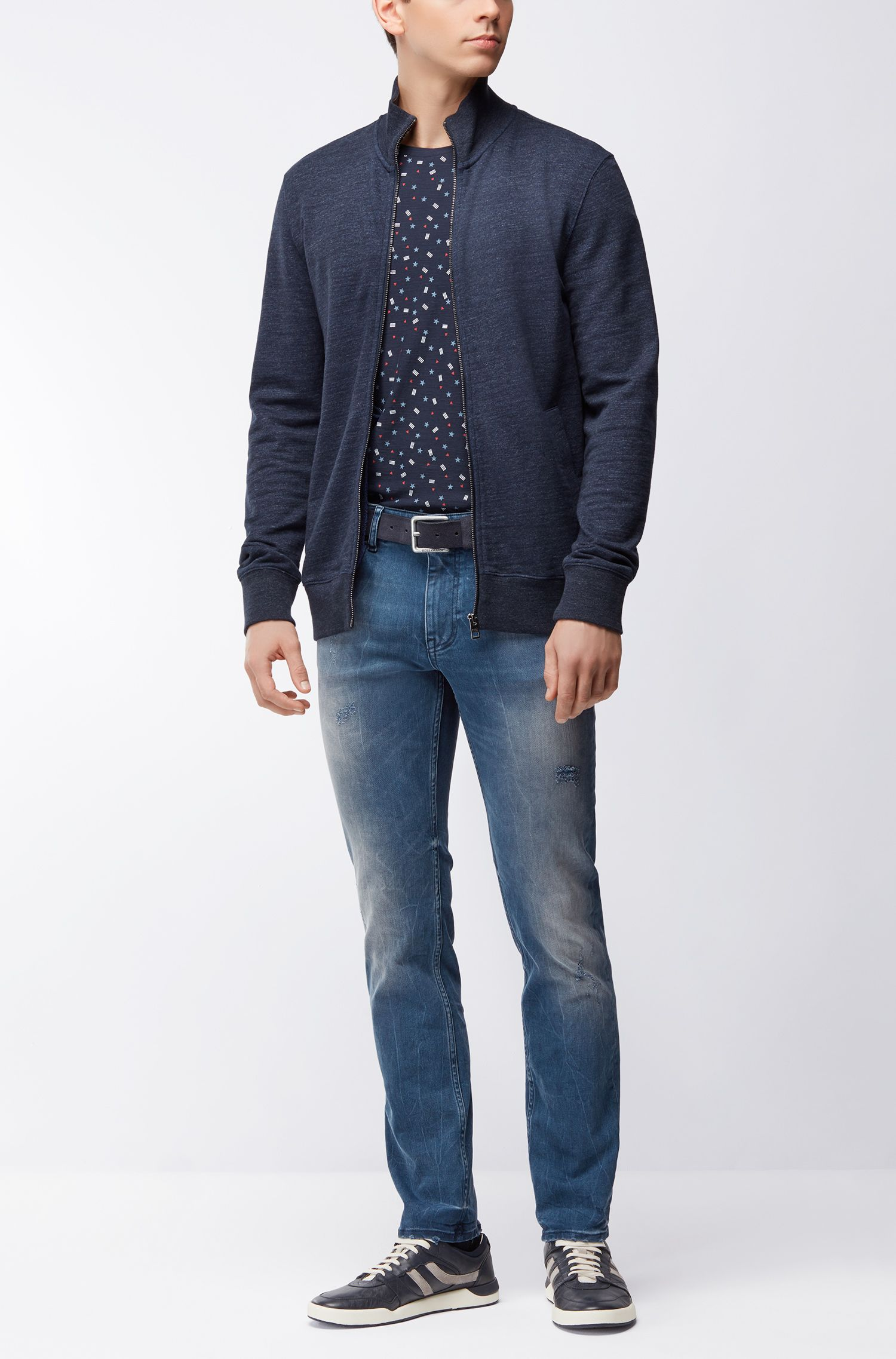 Distressed jeans van indigo stretchdenim in een slim-fit