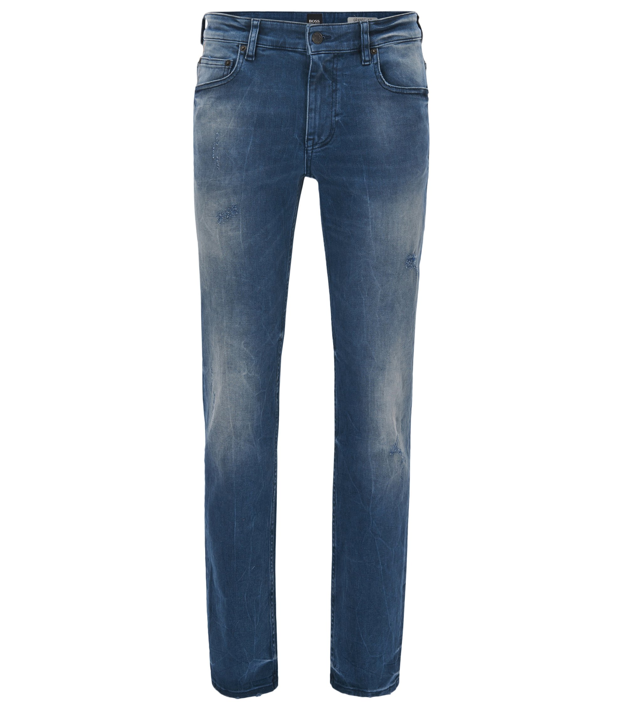 Jean Slim Fit en denim stretch indigo au look usé, Bleu foncé