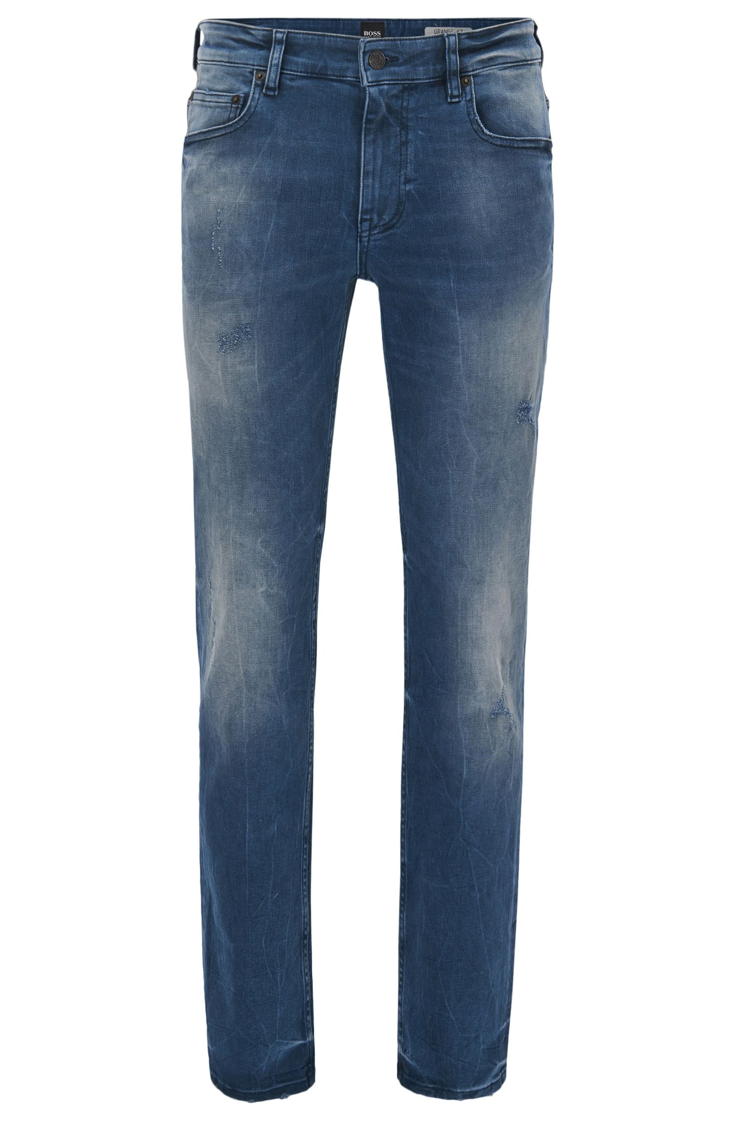 Jean Slim Fit en denim stretch indigo au look usé