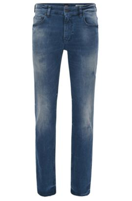 Jeans Slim Fit en denim stretch indigo au look usé, Bleu foncé