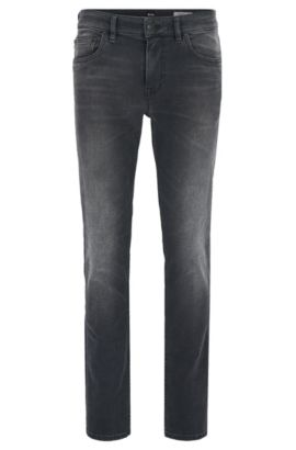 Jean Slim Fit en denim stretch lavé pour le confort, Anthracite