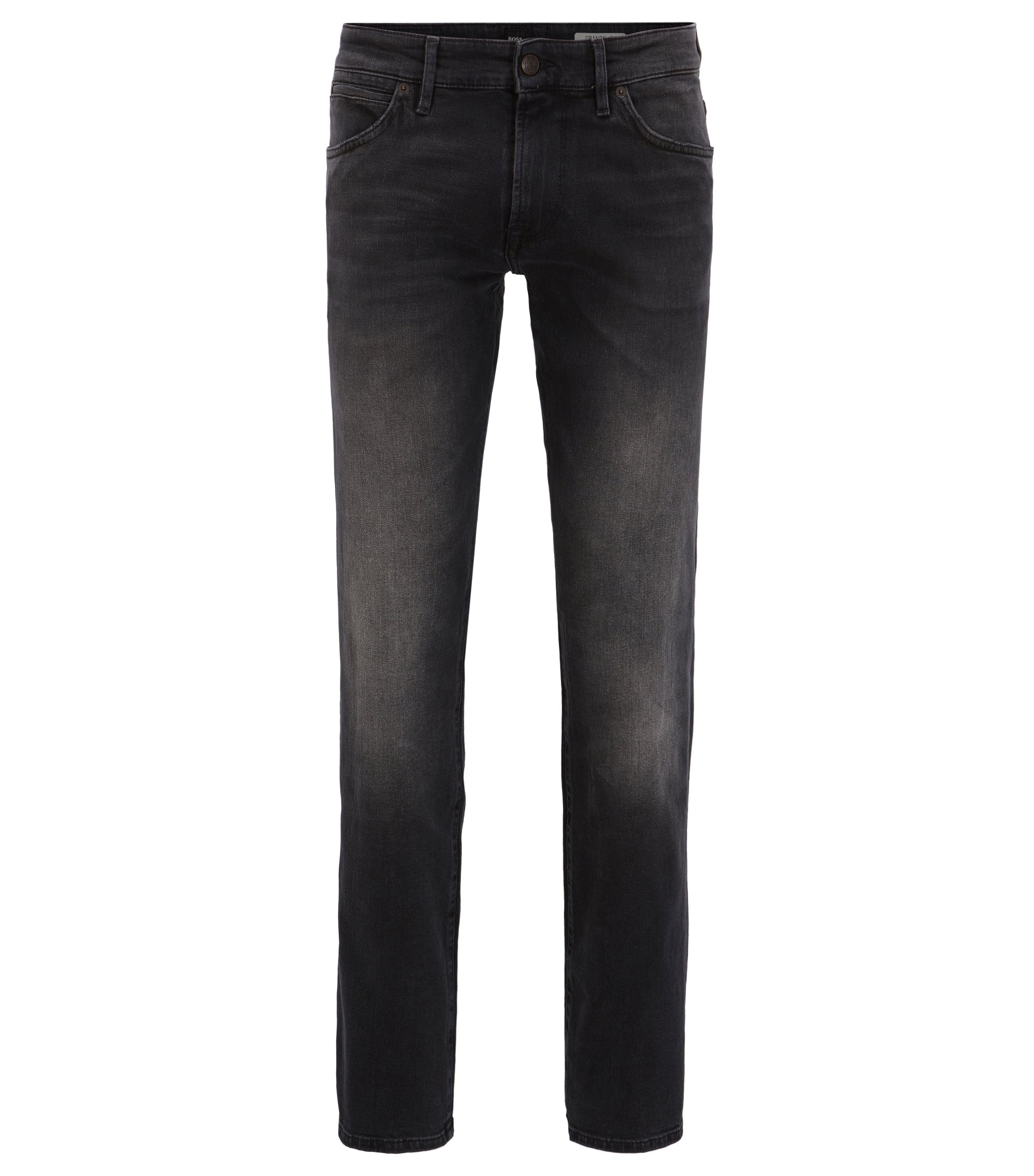 Regular-fit jeans in black comfort-stretch denim, Anthracite