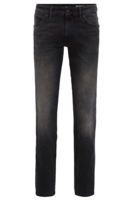 Regular-fit jeans van zwart, comfortabel stretchdenim, Antraciet