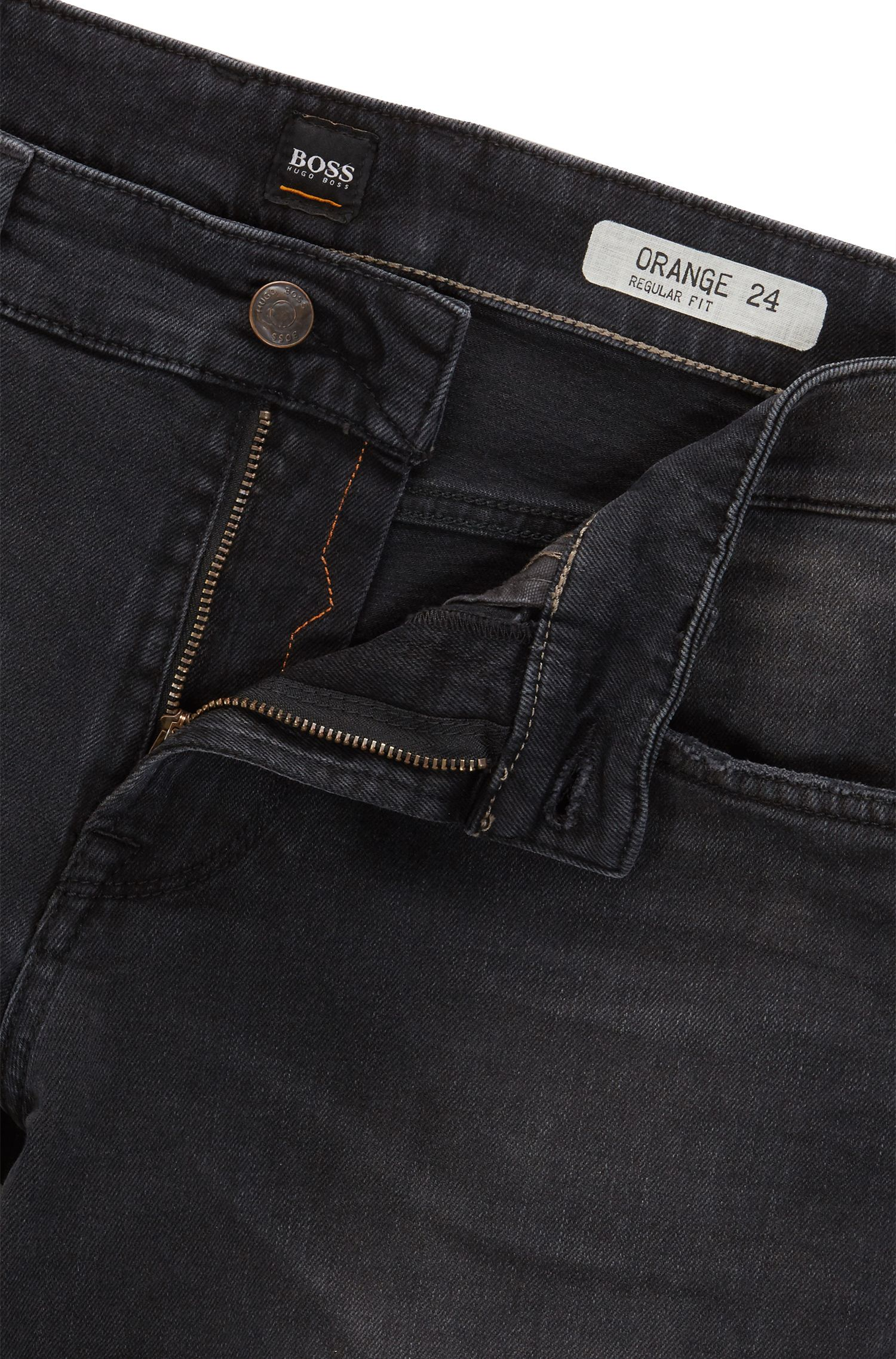 Regular-fit jeans in black comfort-stretch denim BOSS