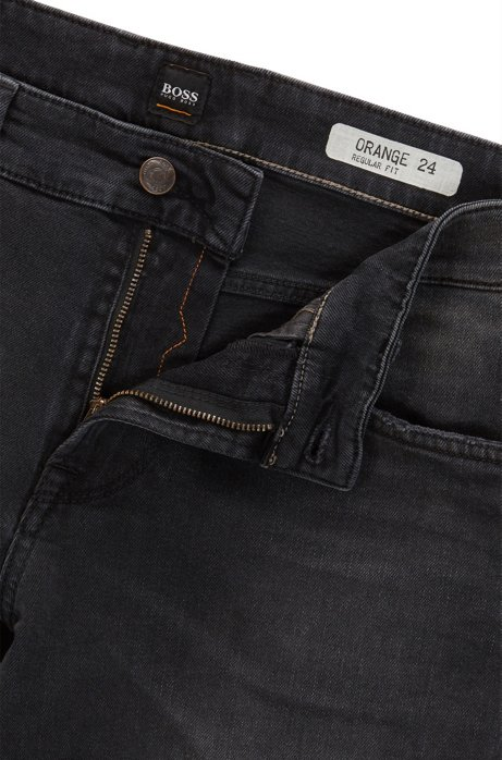 Regular-fit jeans in black comfort-stretch denim BOSS CWDEC