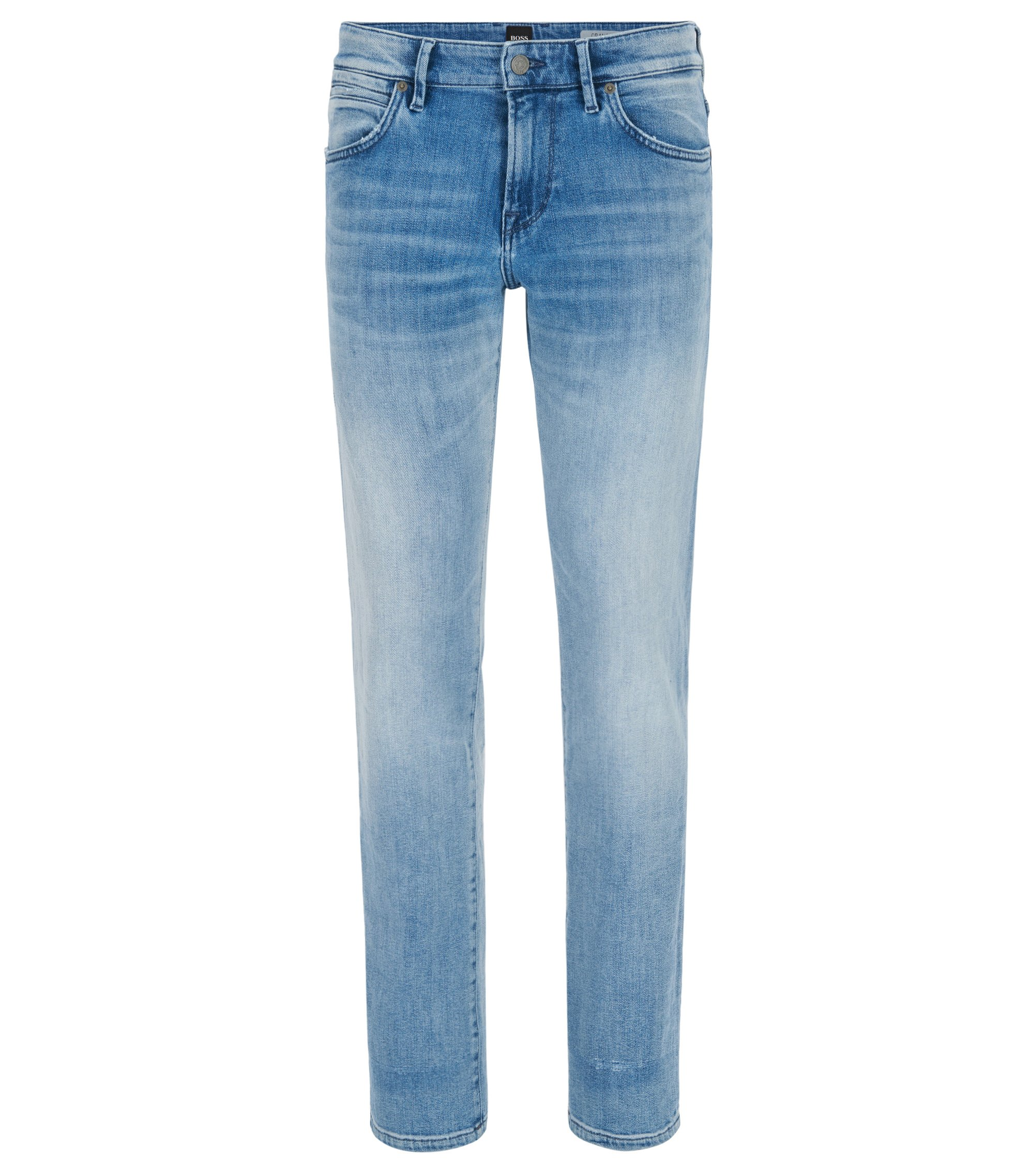 Regular-fit jeans in washed stretch denim, Light Blue