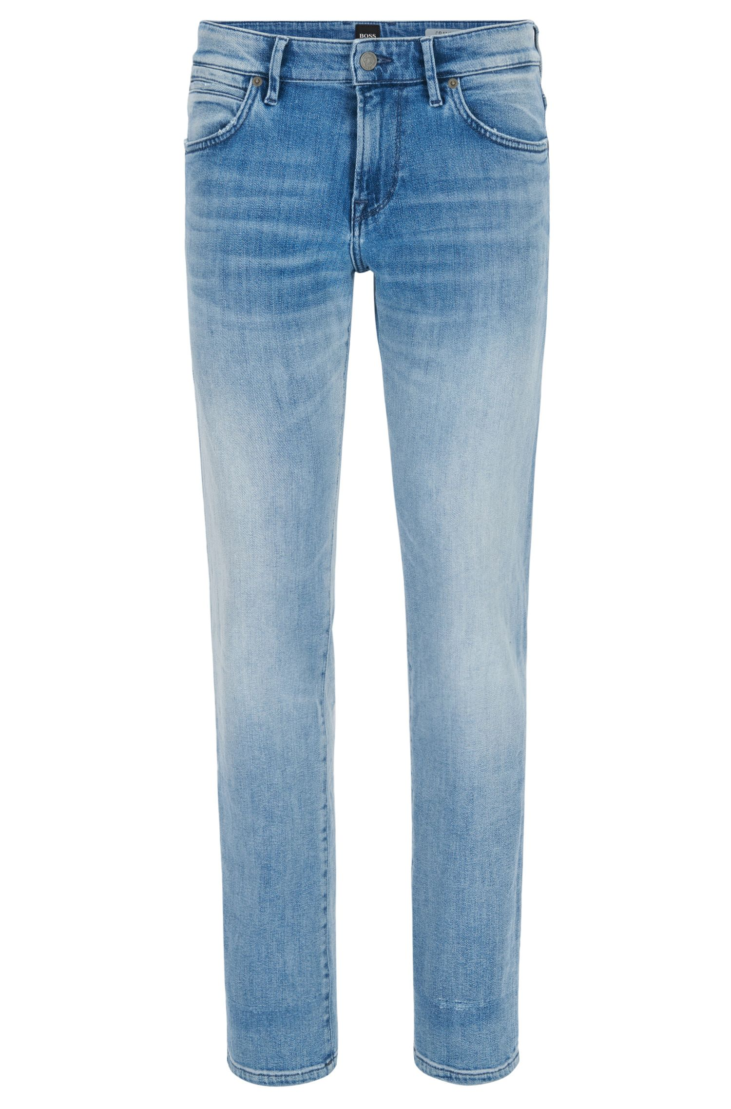 Jeans regular fit in denim elasticizzato lavato
