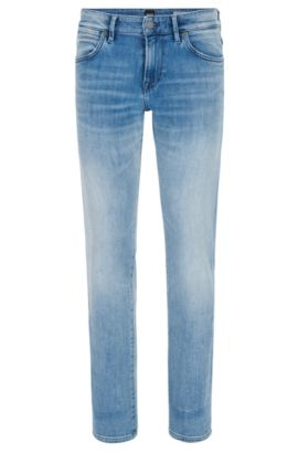 Regular-fit jeans in washed stretch denim, Turquoise