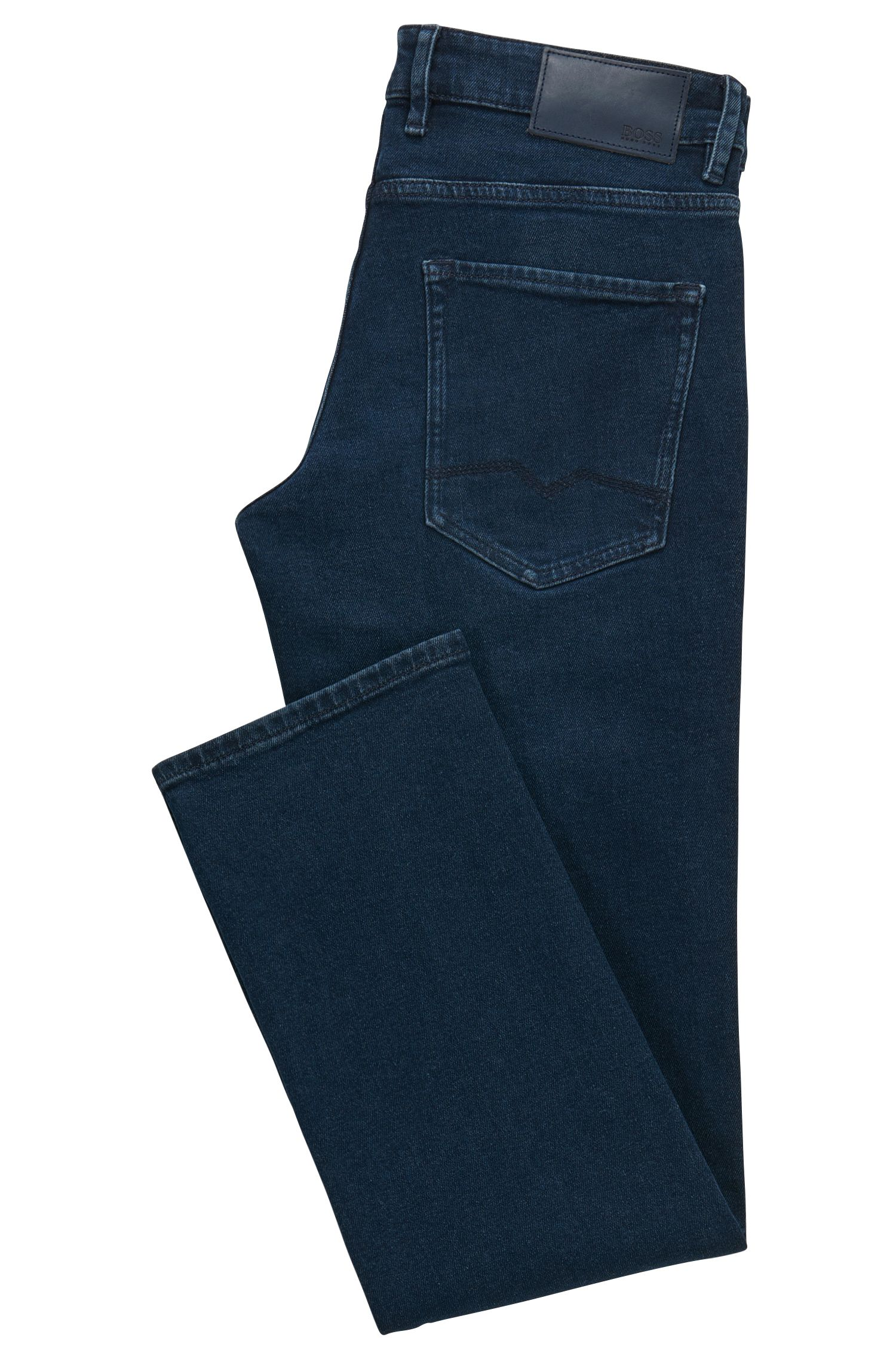 Regular-fit jeans van behandeld denim met comfortabele stretch
