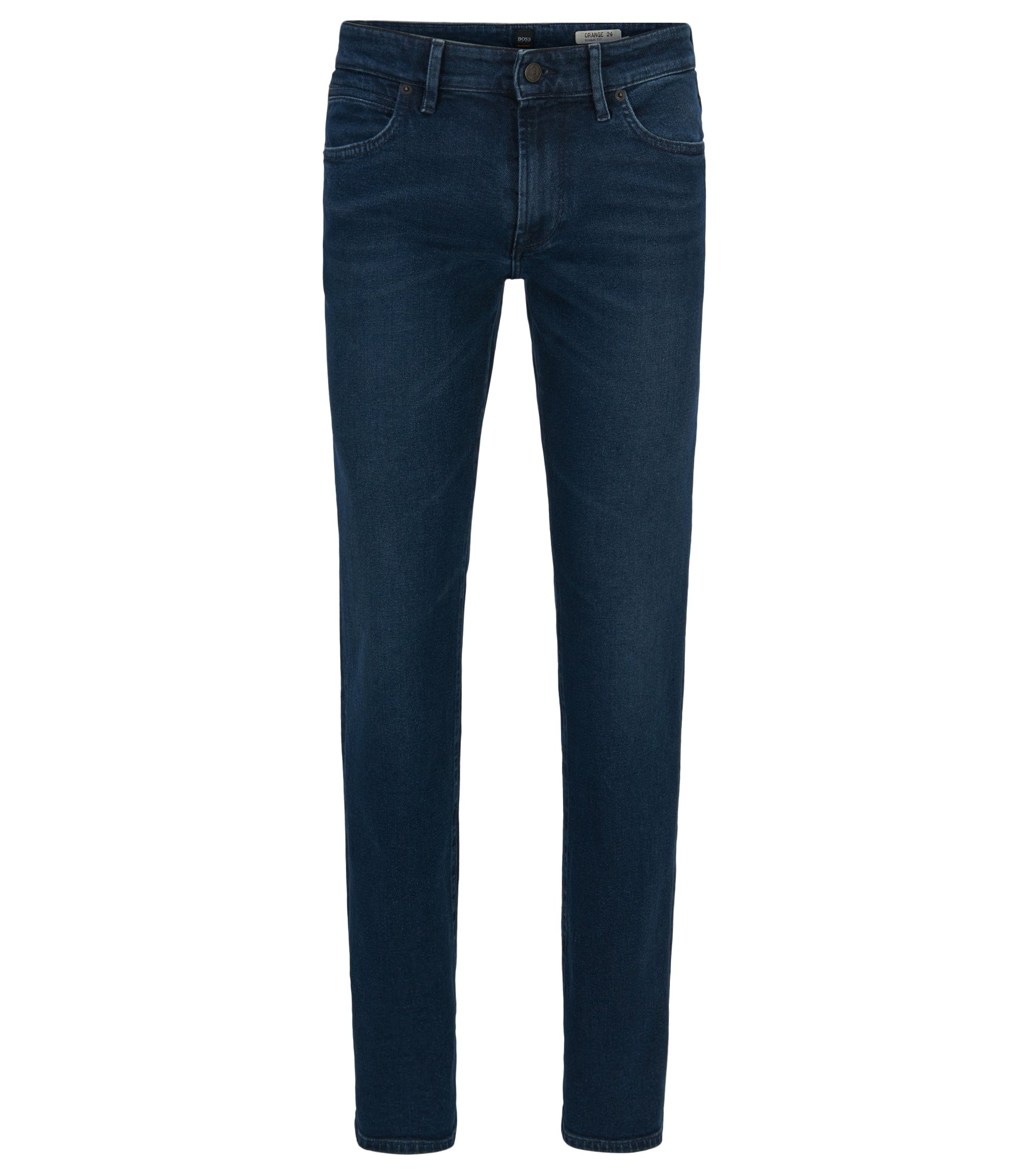 Regular-fit jeans van behandeld denim met comfortabele stretch, Blauw