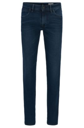 Regular-Fit Jeans aus behandeltem Baumwoll-Mix mit Elasthan, Blau