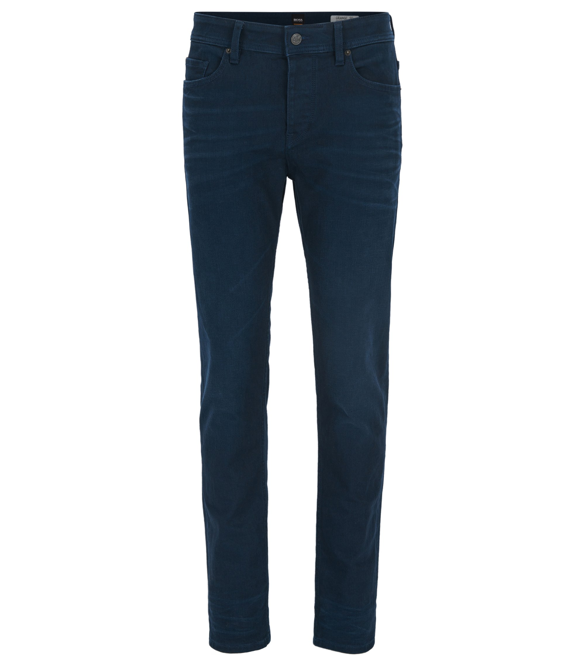 Tapered-fit jeans van double-indigo stretchdenim, Donkerblauw