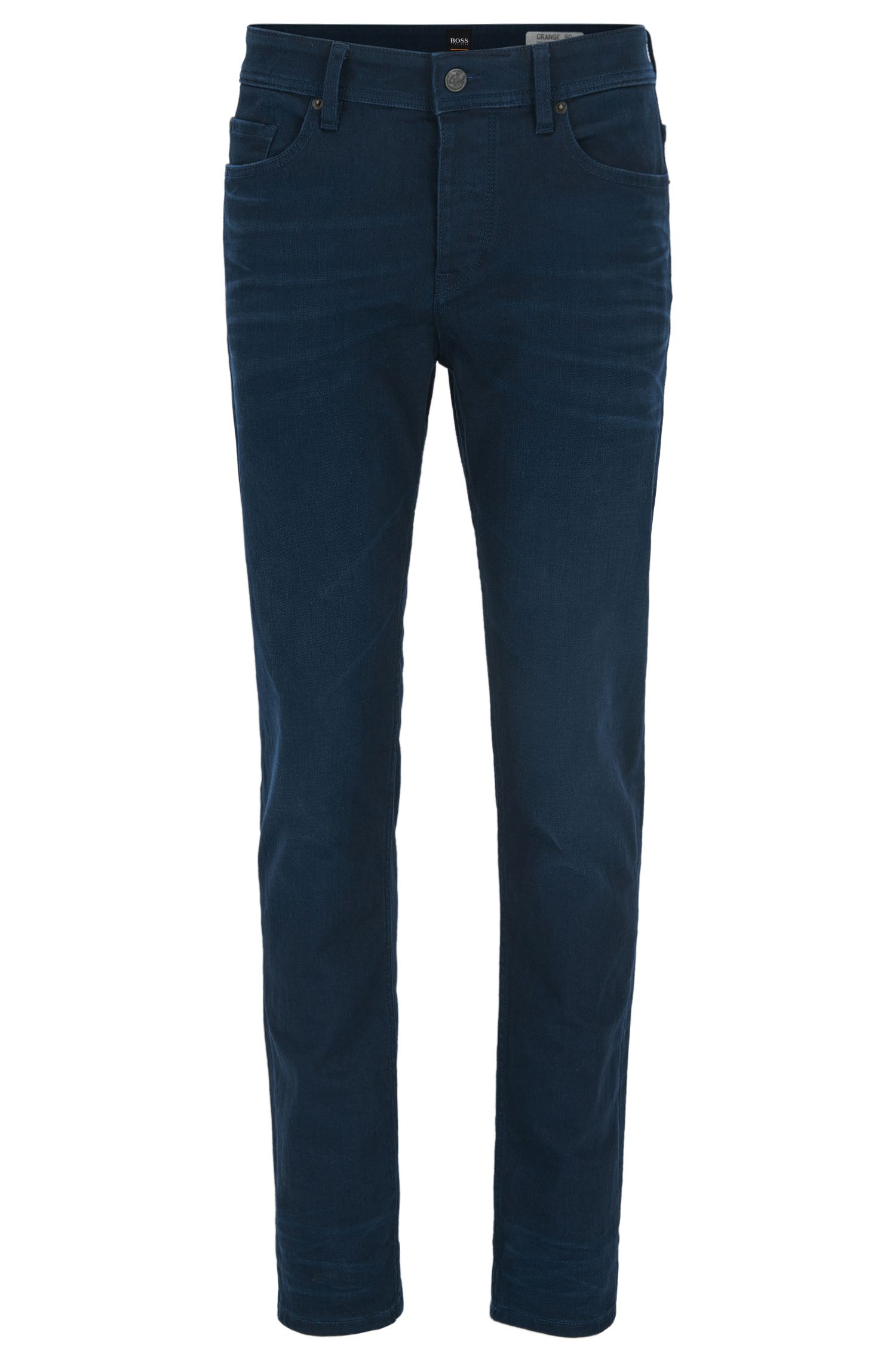 Double-indigo stretch-denim tapered jeans