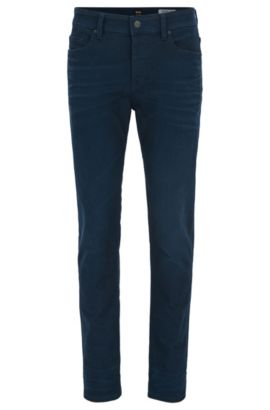 Double-indigo stretch-denim tapered jeans, Dark Blue