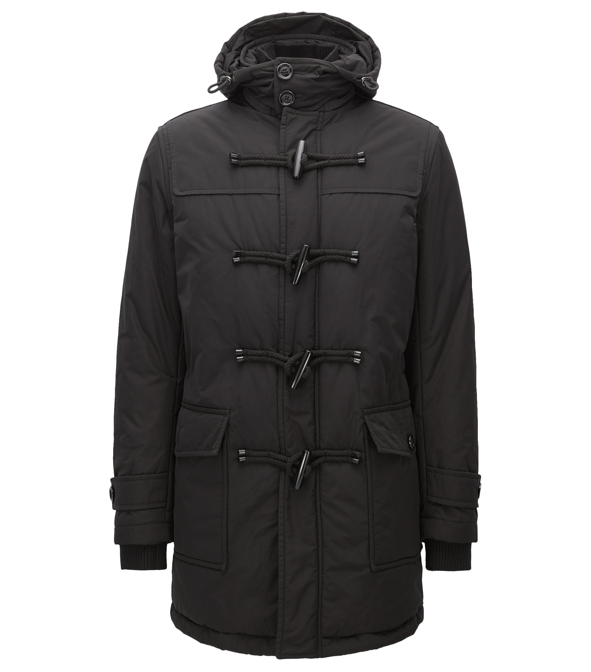 Duffle-coat Regular Fit imperméable, Noir