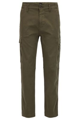 Tapered-fit cargo trousers in stretch cotton, Dark Green