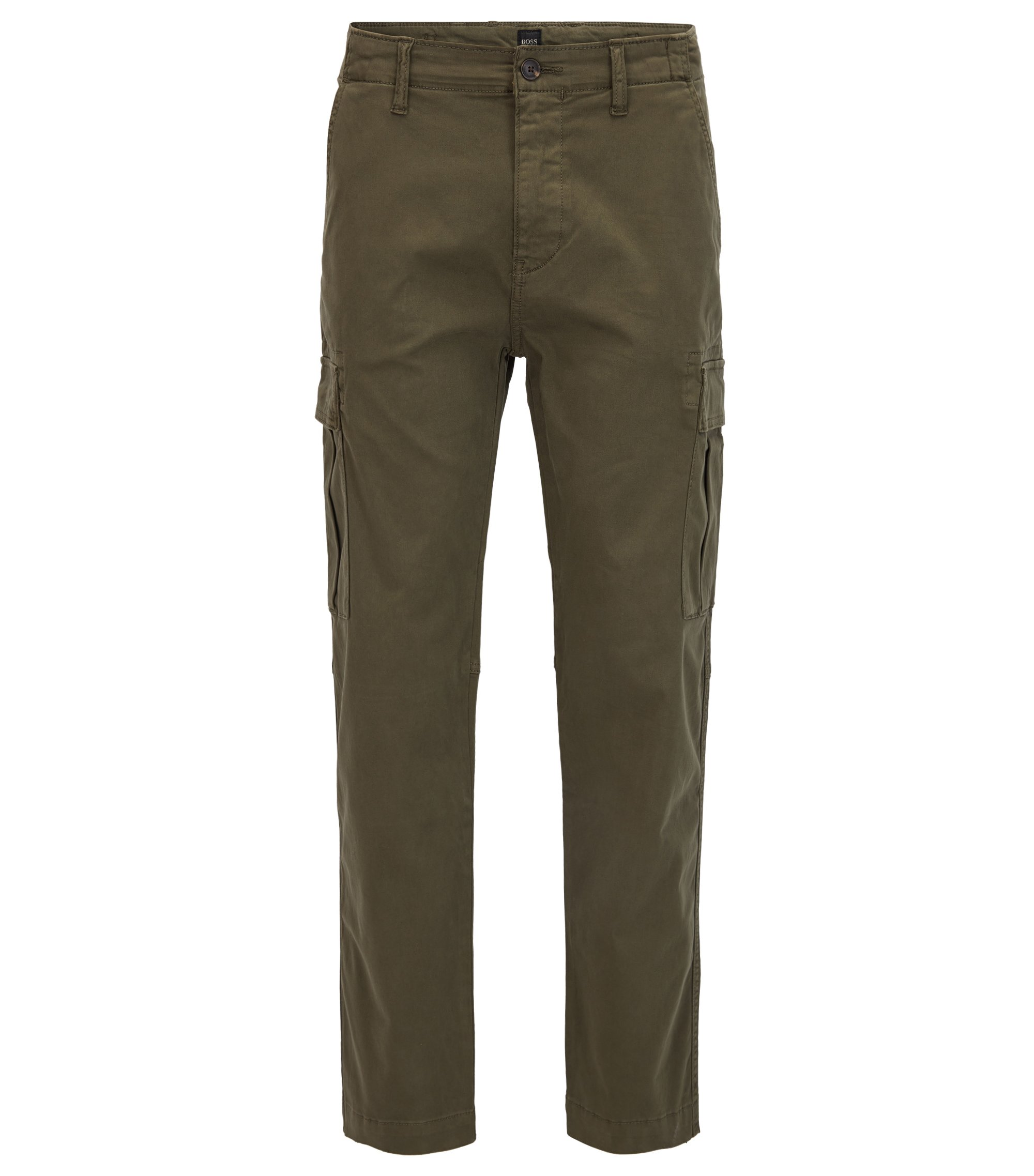 Pantalon cargo Tapered Fit en coton stretch, Vert sombre