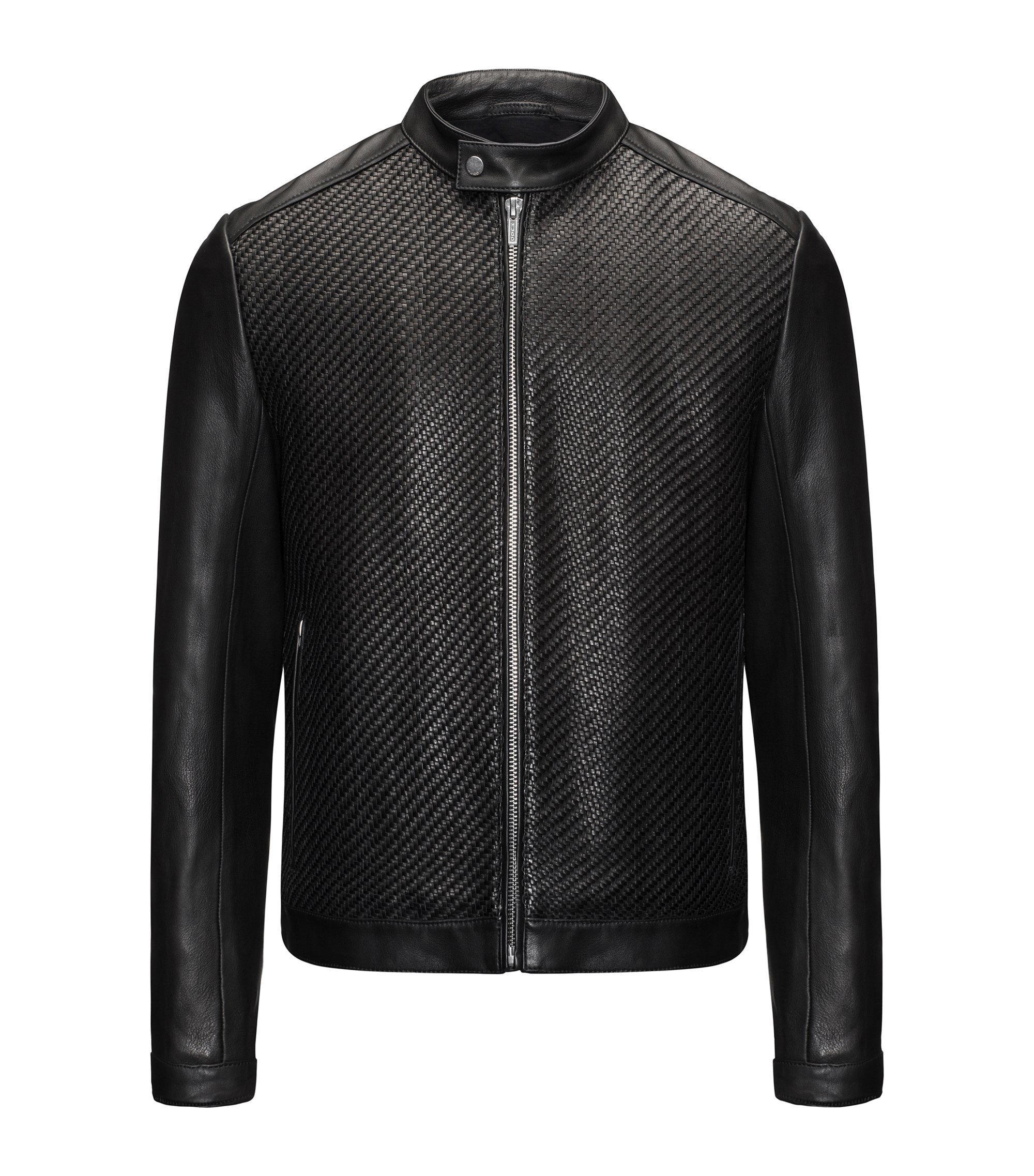 Slim-fit leather jacket with hand-woven panels, Black